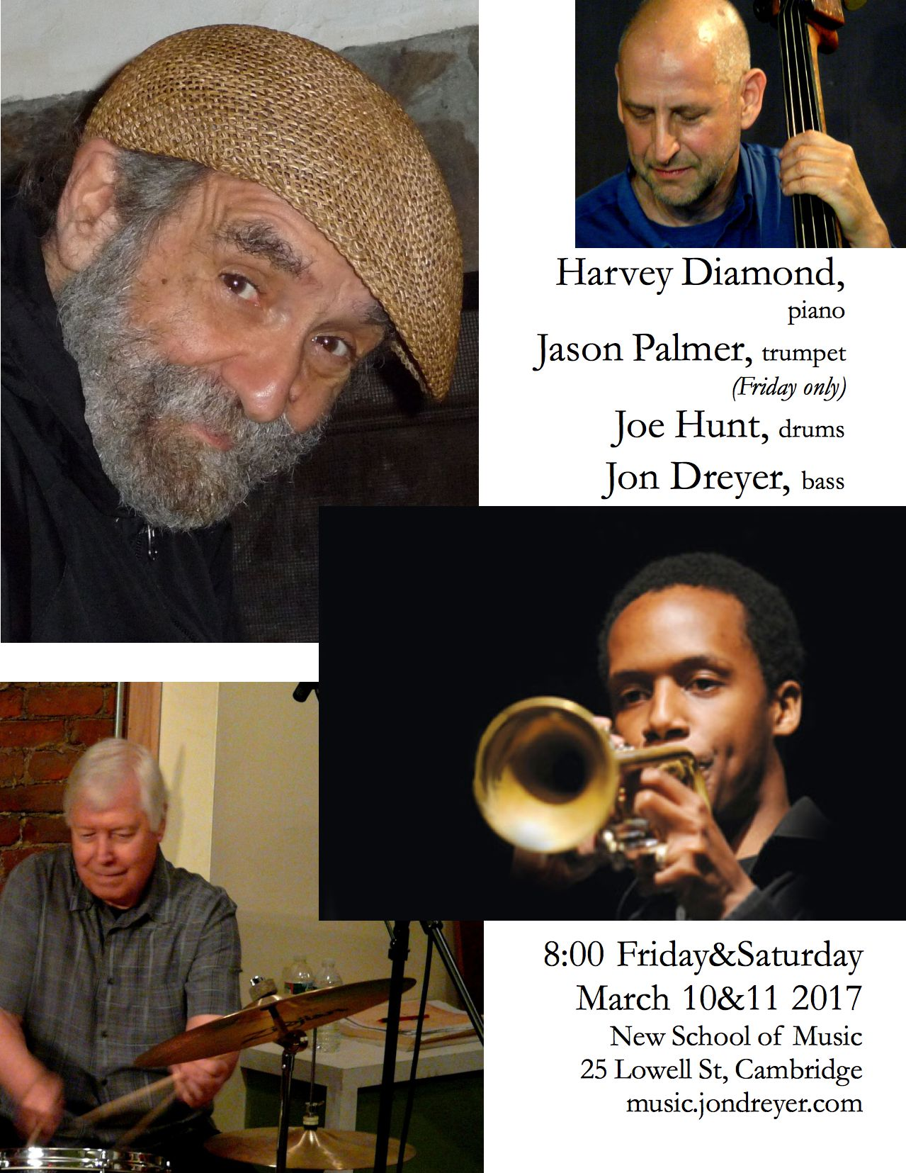 Flyer for March 10/11 2017 Harvey Diamond Trio/Quartet