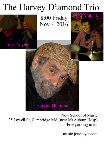Flyer for Nov 4 2016 Harvey Diamond Trio
