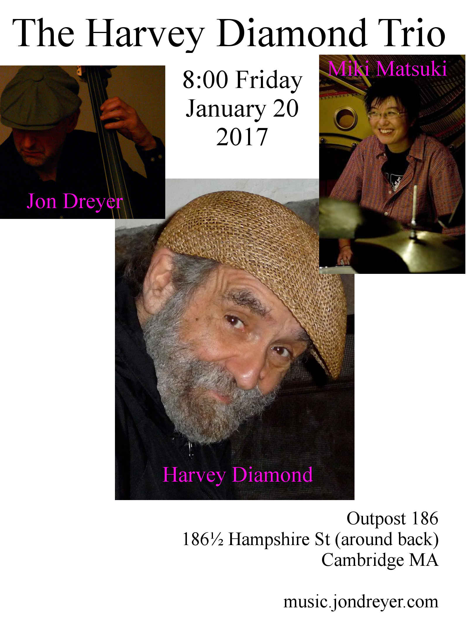 Flyer for Jan 20 2017 Harvey Diamond Trio