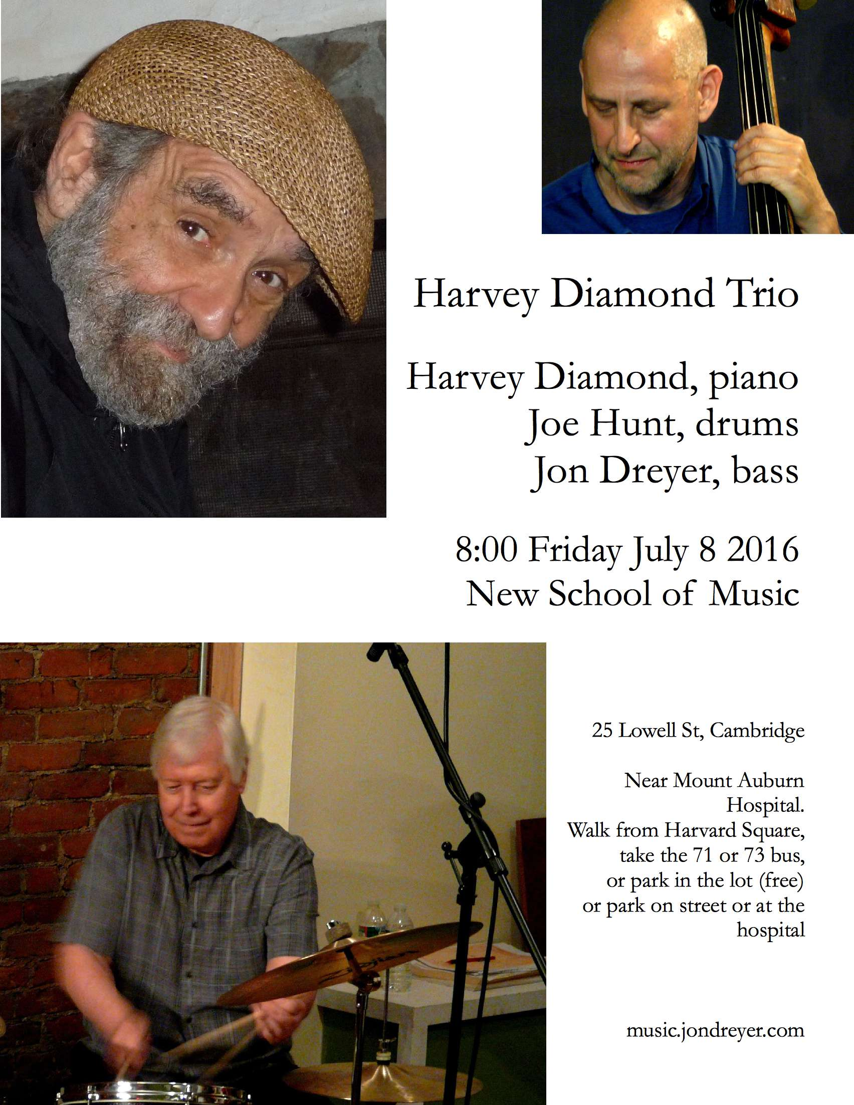 Harvey Diamond Trio Poster, July 8 2016